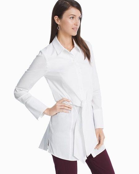 9f722fc30b87cb Women's White Poplin Tie-Front Shirt by White House Black Market ...