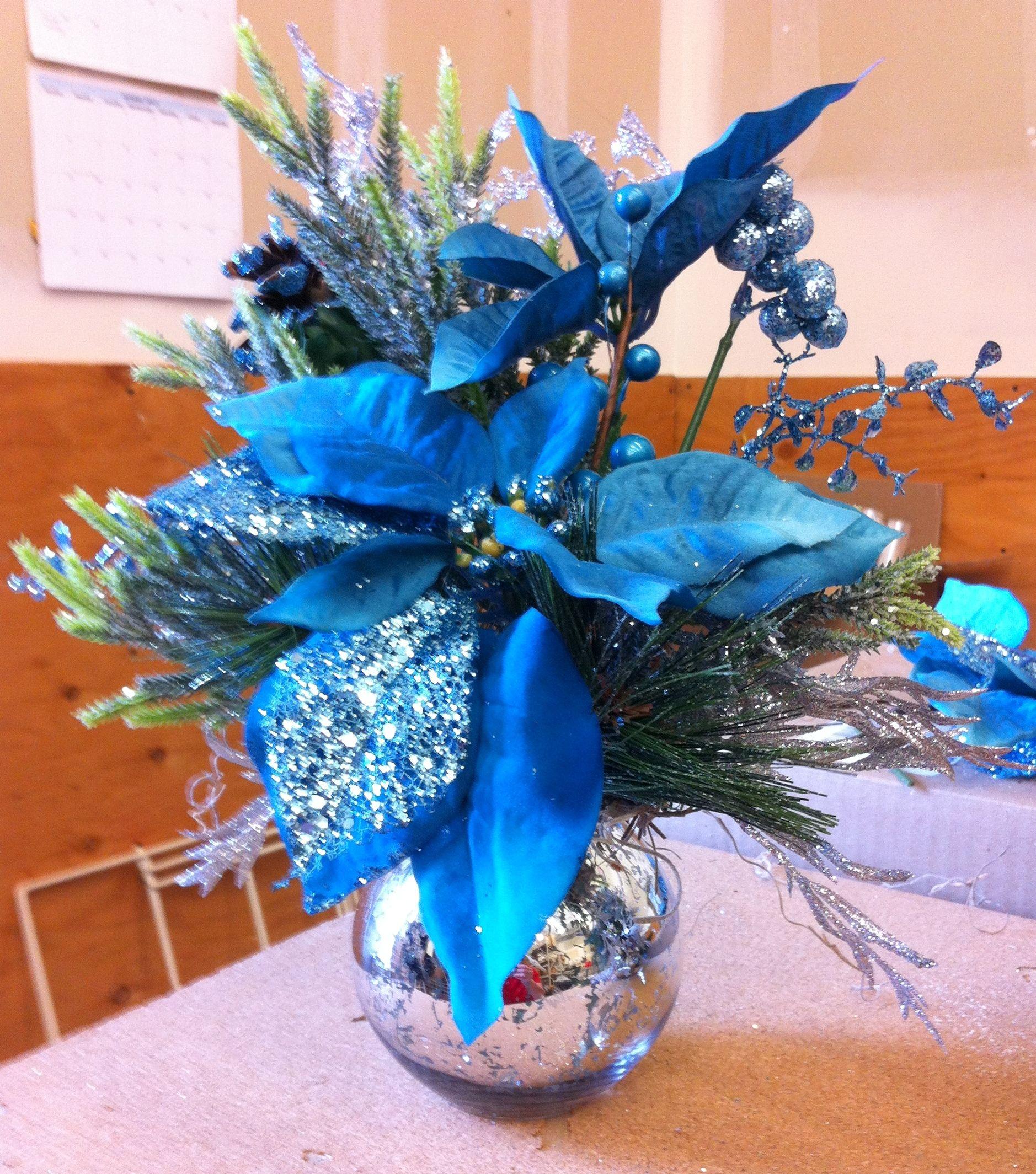 Blue christmas arrangement my floral design at michaels