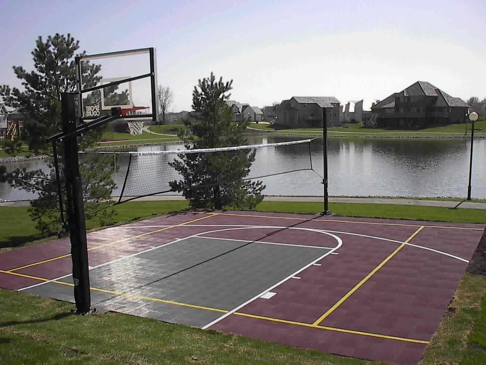 Backyard Sport Court Ideas backyard basketball court in la lakers colors Backyard Sports Court Sport Court Of Iowa Backyard Basketball Courts By Sport Court Of