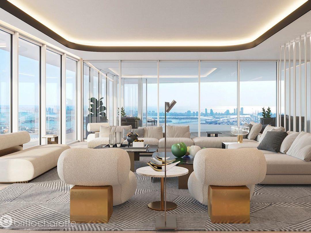 Miami Interior Design Studio On Instagram Weekend Vibes Modern Miami Penthouse Designed By In 2020 Miami Interior Design Miami Interiors Living Room Design Modern