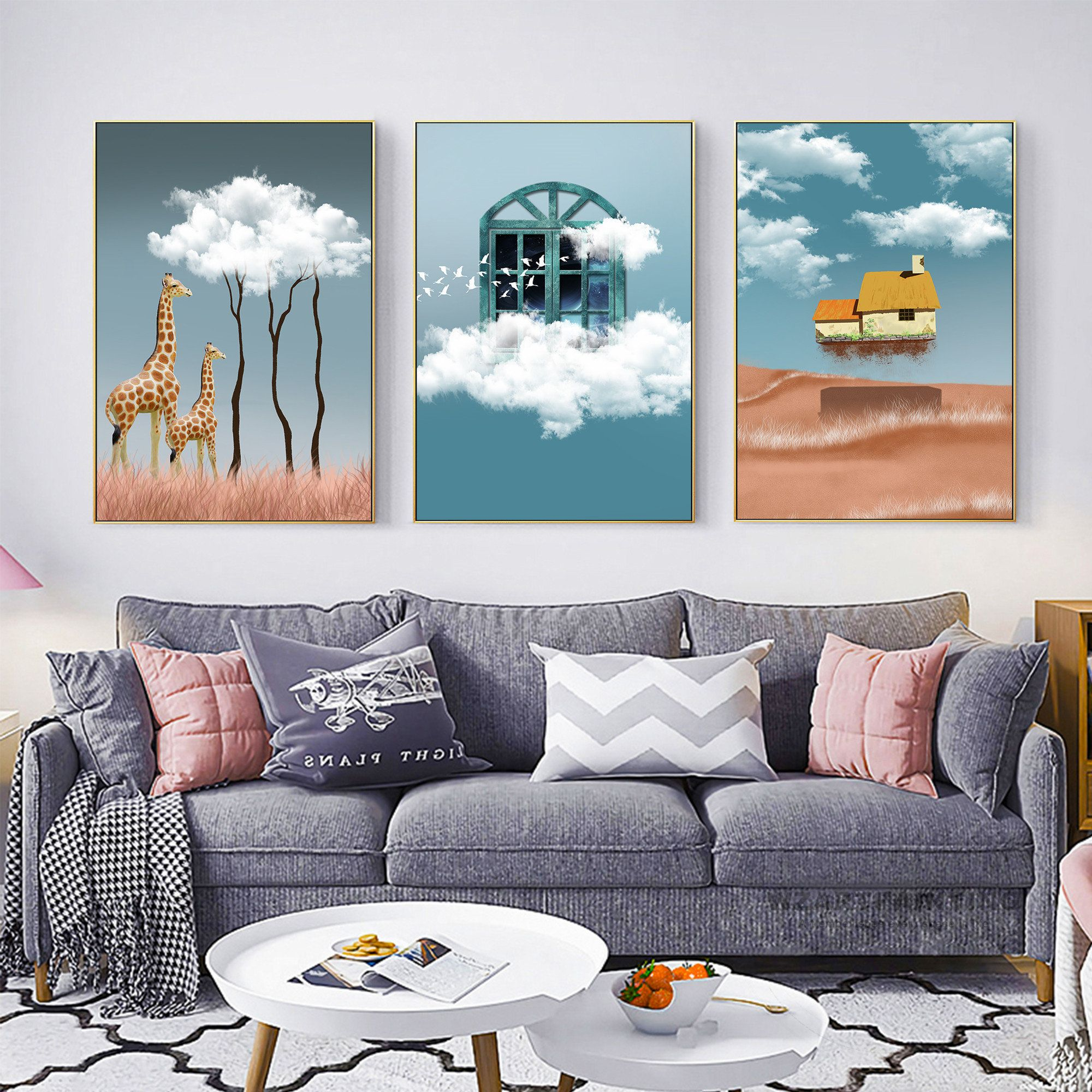 Frame Wall Art Set Of 3 Prints Painting Giraffe Window House Etsy Framed Wall Art Sets Frames On Wall Wall Art Sets