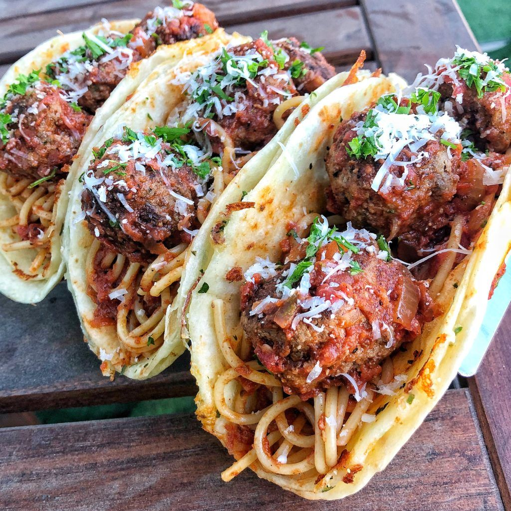 Spaghetti And Meatball Tacos Recipe Spaghetti And Meatballs Recipes Food