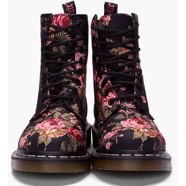 DR. MARTENS Floral Print 8 eye 1460 W Boots ($130) ❤ liked on Polyvore