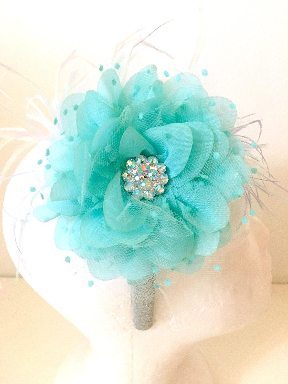 Aqua blue hair flower rainbow feather fascinator headband wedding aqua blue hair flower rainbow feather fascinator headband wedding bridal hair flower feather headband izmirmasajfo