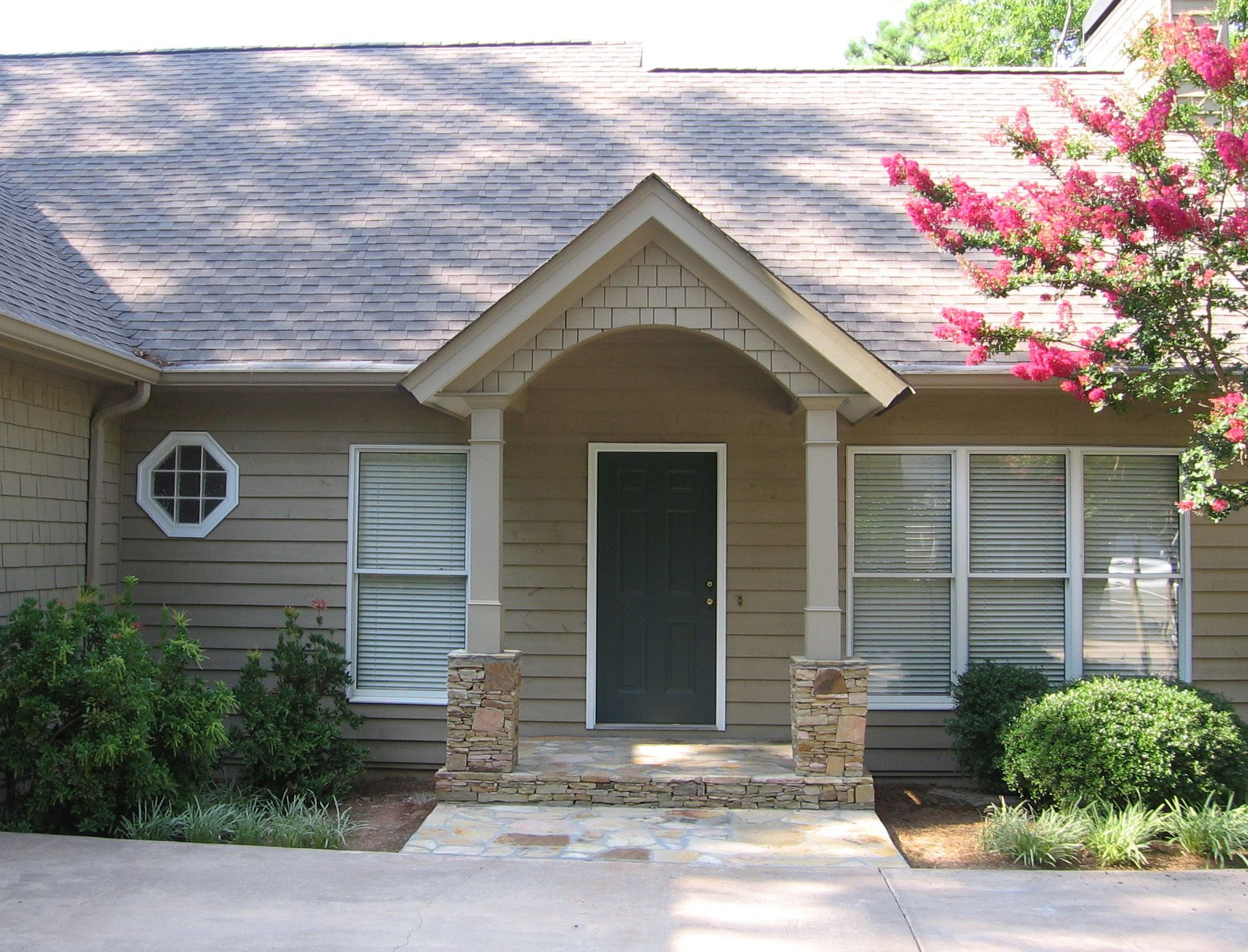 Simple Arched Portico For Ranch Style Home Front