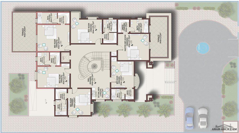 مخطط الفيلا 620 متر مربع تصميم خليجى 6 غرف نوم House Layout Plans Architectural House Plans House Floor Plans