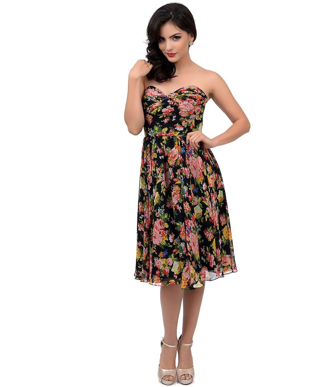 Unique Vintage 1950s Style Black Floral Dandridge Strapless Chiffon Swing Dress