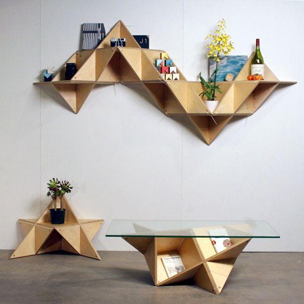 Like origami for your stuff.  http://www.archdaily.com.br/br/01-103910/tshelf-slash-j1-studio