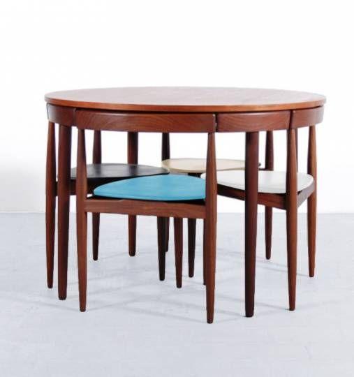 Table Ronde Et Ses Chaises Tripodes Hans Olsen Vintage Table