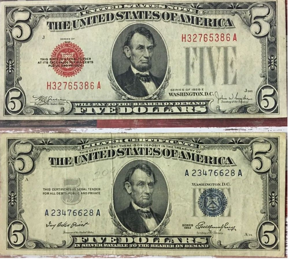 5 pc 1928 LOT $1 $2 $5 $10 $20 FRN//SILVER CERTIFICATE CURRENCY NOTES+++MORE