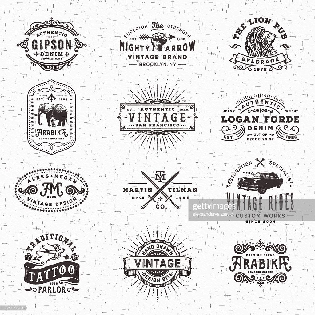 Collection of hand drawn and textured vintage looking