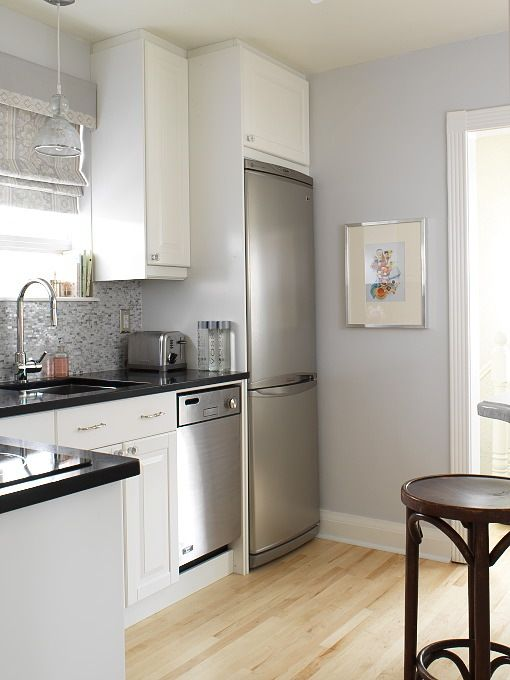 kitchens - gray blue walls white kitchen cabinets Absolute ...
