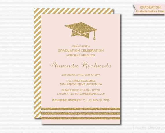 Pink gold graduation invitation printable graduation party grad pink gold graduation invitation printable graduation party grad announcement grad celebration digital modern gold glitter blush filmwisefo