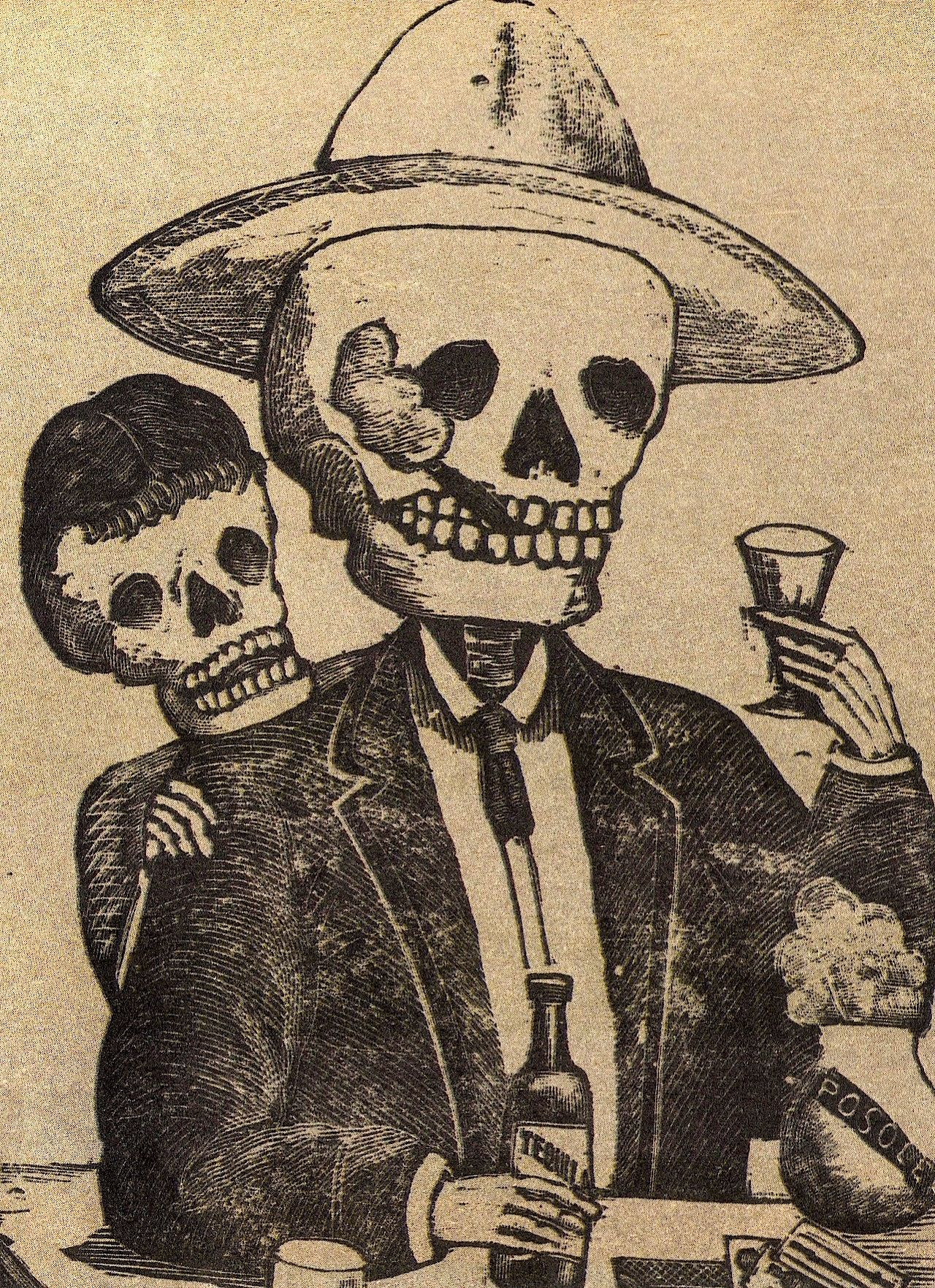 "antique José Posada 20/""x12/"" Art Print Skulls Skeletons Riding Bicycles Bike"