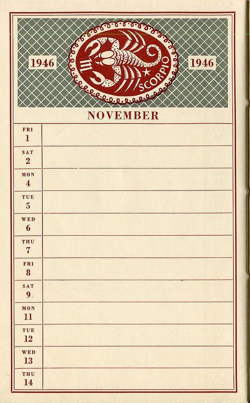 November College Of Art Diary 1946 Zodiac Symbols