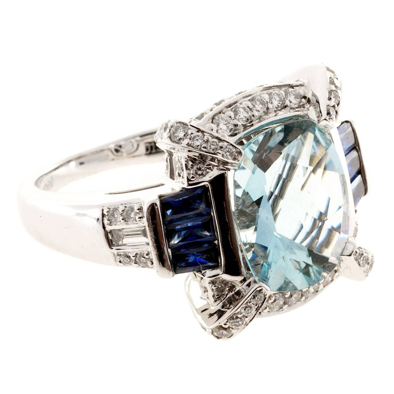 gold precious white rings cluster aquamarine sapphire ring diamond bloomfield jewellery sheldon image
