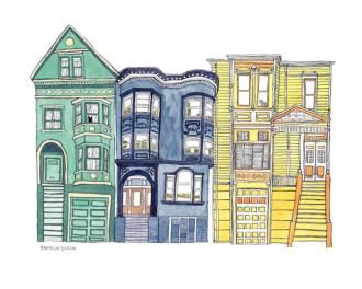$30 Pamela Baron: Jealous Cat Neighborhood, giclee print on watercolor paper, 10x8