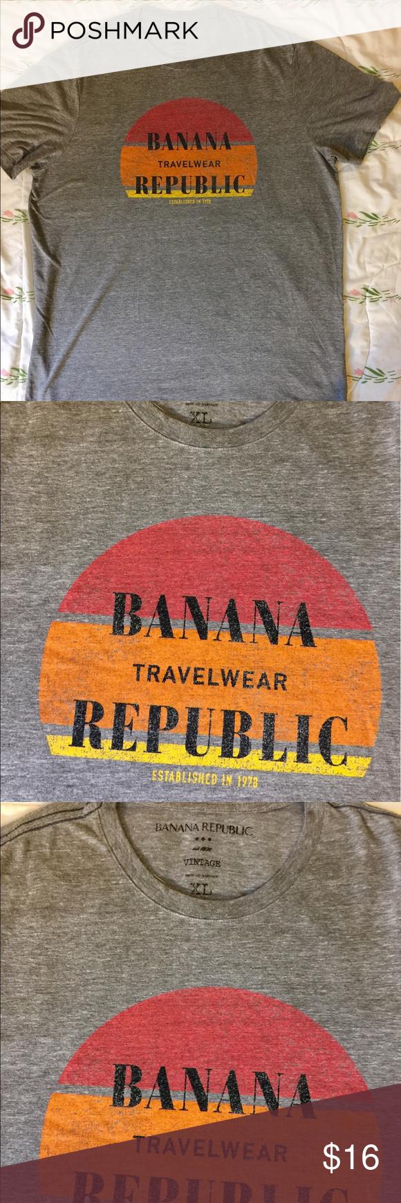 Banana Republic Men's Vintage T-Shirt XL Gray Banana Republic Men's Vintage T-Shirt XL Color Gray Banana Republic Shirts Tees - Short Sleeve