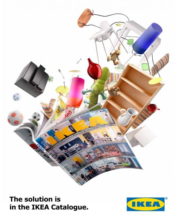 'The solution is in the catalogue' IKEA advertisement by 358, showing how direction and layout can be used to create a dynamic quality.