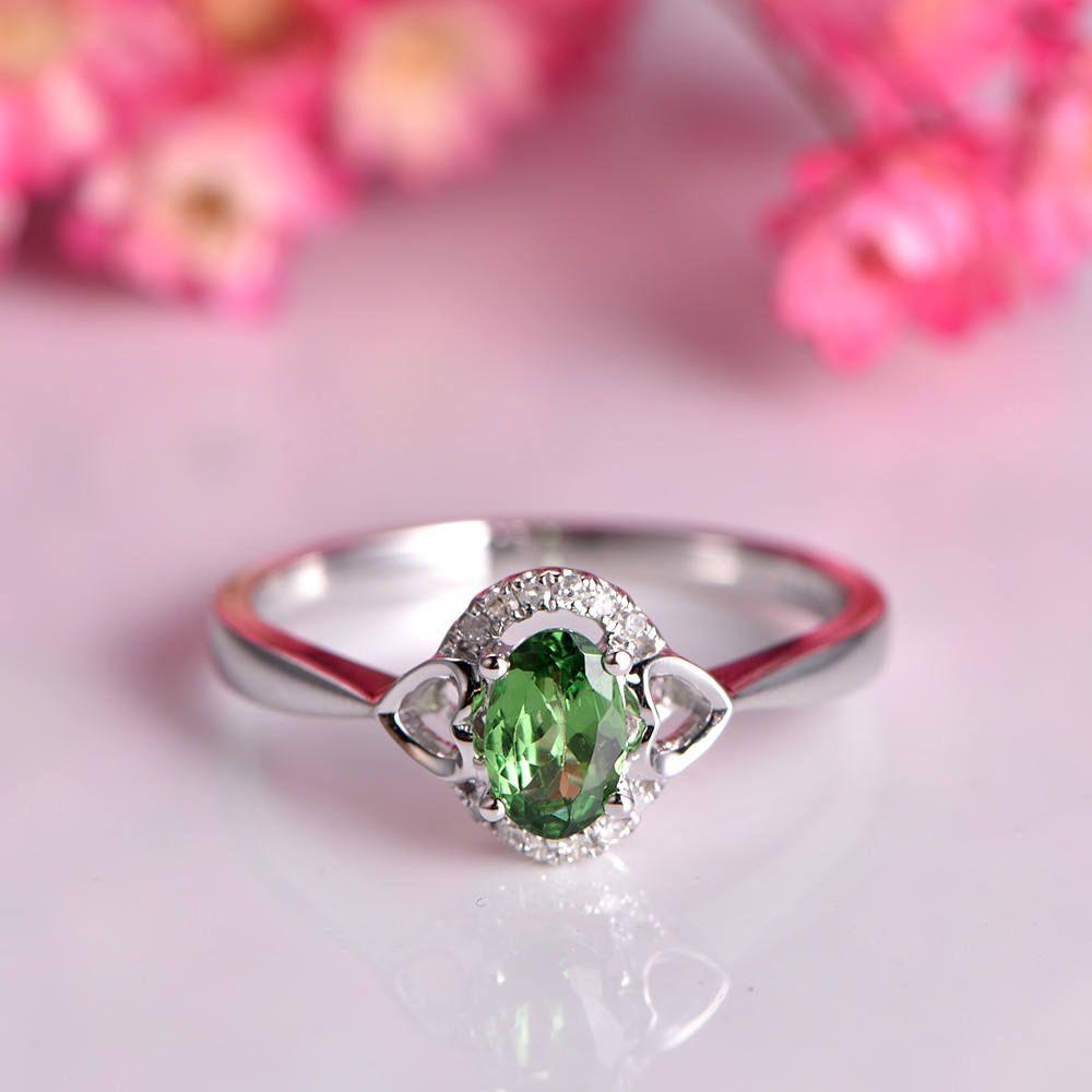 Tsavorite Ring 4x6mm oval cut tsavorite heart shape wedding band ...