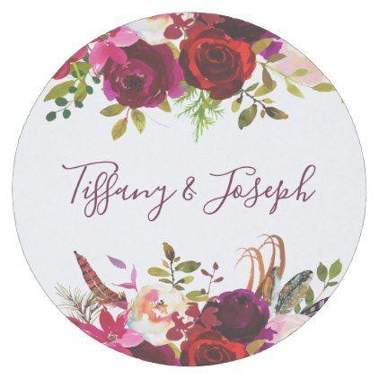 Burgundy Elegant Floral Spring Garden Wedding Round Paper Coaster   Party Gifts  Gift Ideas Diy Customize