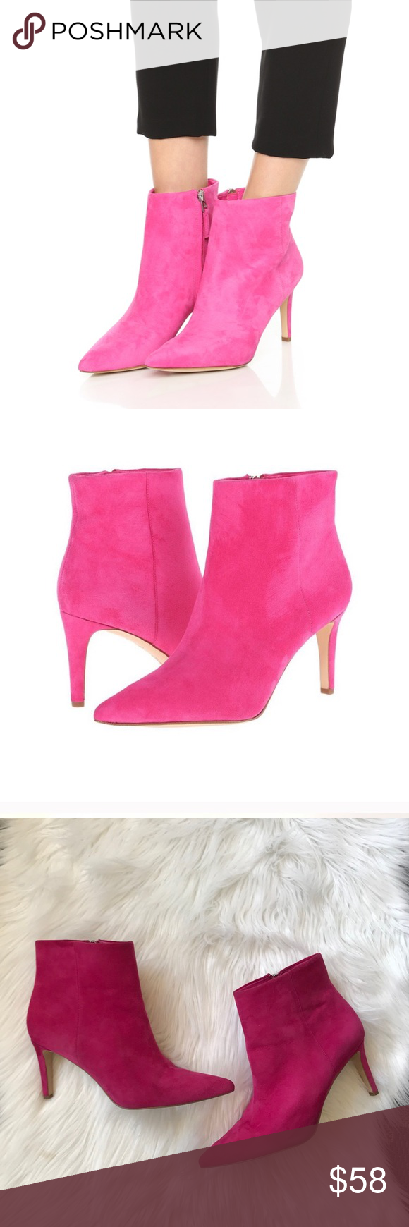 f2474ebab9a6 Sam Edelman Karen Suede Booties In Candy Pink Leather upper with man made  balance. Has