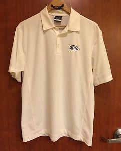 Nike Golf Kia Work White Dri Fit Polo Shirt Mens Sz M Ebay