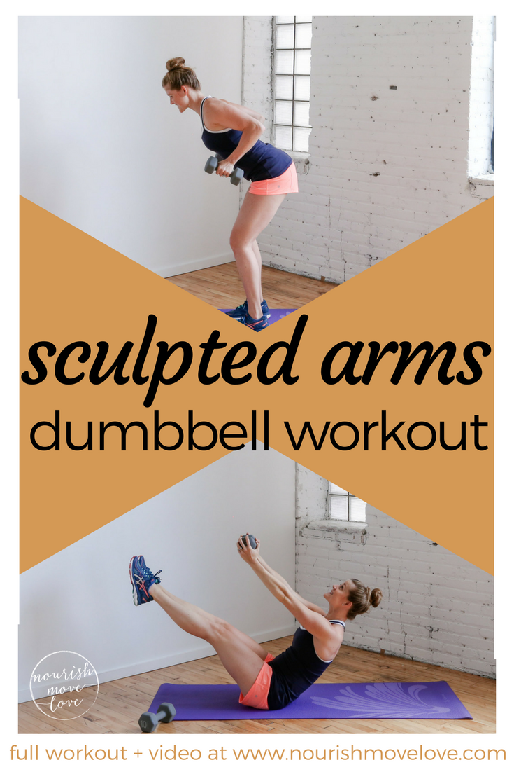 Sculpted arms dumbbell workout - 20 minute, six exercises to build lean muscle and upper body strength. STRICTLY STRENGTH upper body workout. Biceps, triceps, shoulders, back, chest, BONUS core / ab workout. Challenge yourself, use medium to heavy dumbbells. These combo strength exercises can be part of any muscle-building, weight-loss, or general fitness routine. | www.nourishmovelove.com