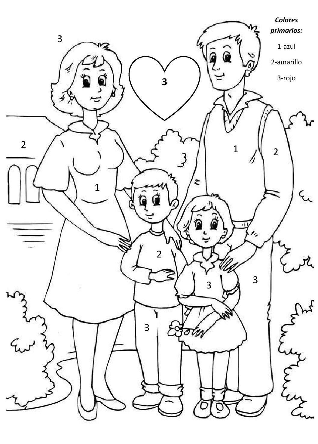 Colores Primarios Clippedonissuu Family Coloring Pages Family Coloring Fathers Day Coloring Page