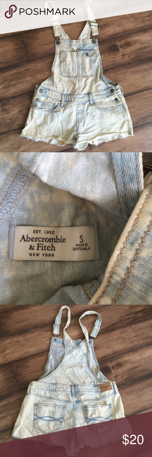 Abercrombie overalls Abercrombie overall shorts . Size small . Light wash Abercrombie & Fitch Shorts