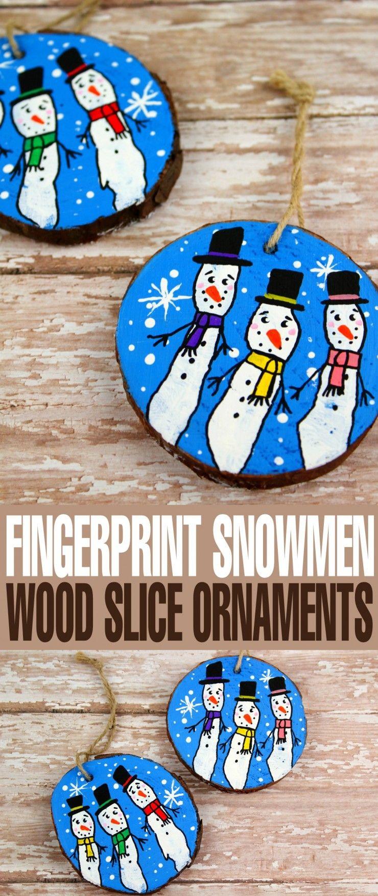 Wood Slice Fingerprint Snowmen Ornaments Christmas Party Crafts Christmas Ornaments Homemade Wood Christmas Ornaments