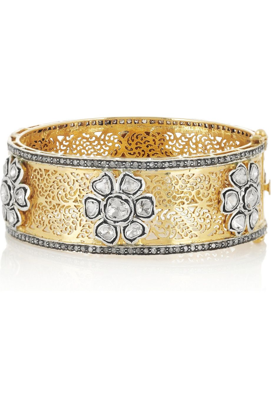 Artisan karat goldplated sterling silver diamond bangle