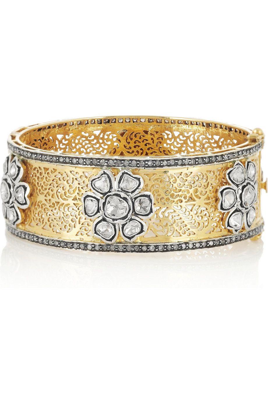Artisan karat goldplated sterling silver diamond bangle