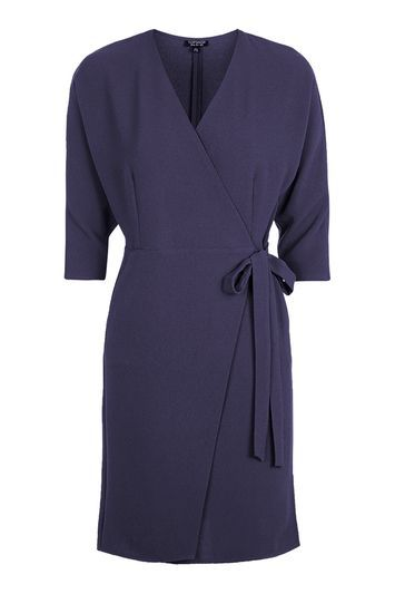 Batwing Wrap Dress - Washed Navy