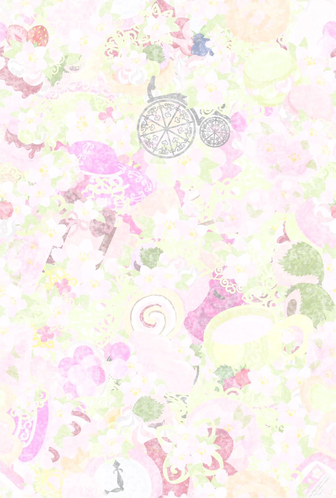 """フリーイラスト素材「桜の雑貨テクスチャ」 free illustration """"the"""