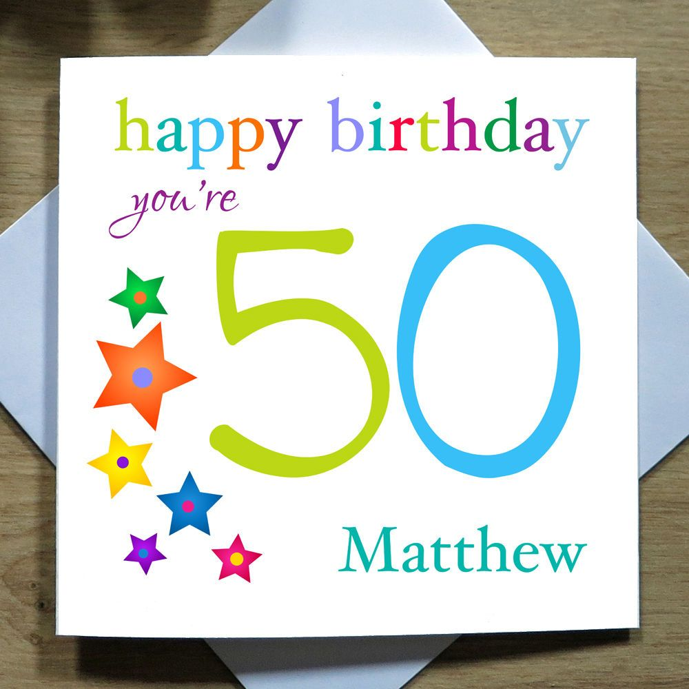Personalised handmade th birthday card for him dad son stars