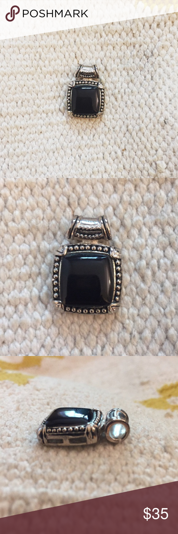 [vintage] pendant silver + black vintage necklace pendant (not free people)! never been worn! ✨🎉 Free People Jewelry Necklaces