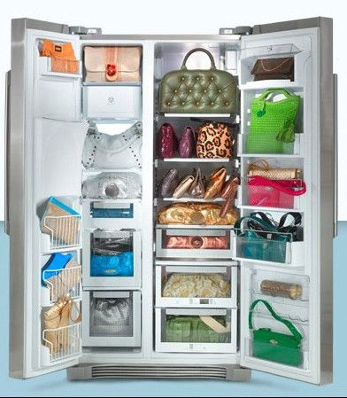 he he...given the amount of cooking I like to do maybe this is a good purse storage idea
