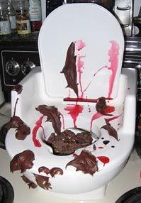 disgusting toilet halloween decoration with peanut butter blood recipe