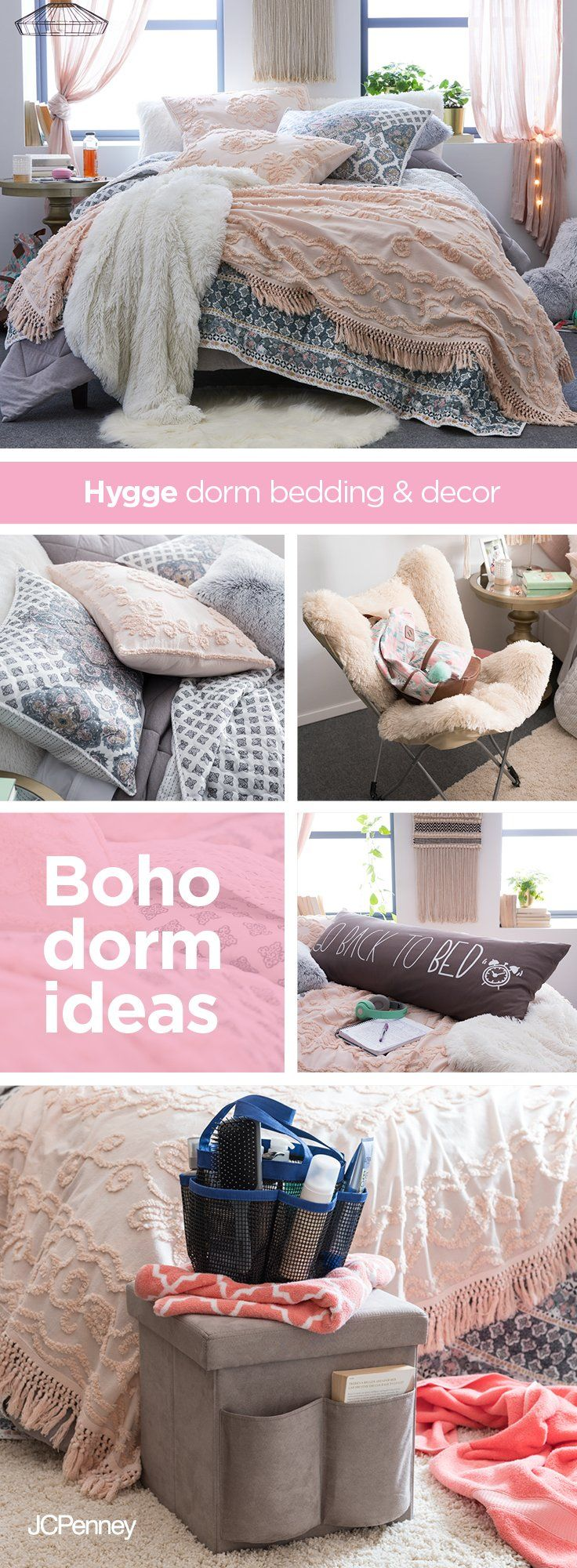 Your Flower Child Will Blossom In This Bohemian Dorm Decor Pair A Whipped-Cream Colored Shag -3771