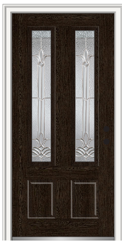 Bristol 2 34 Lite 2 Panel Fiberglass Oak Entry Door Stained