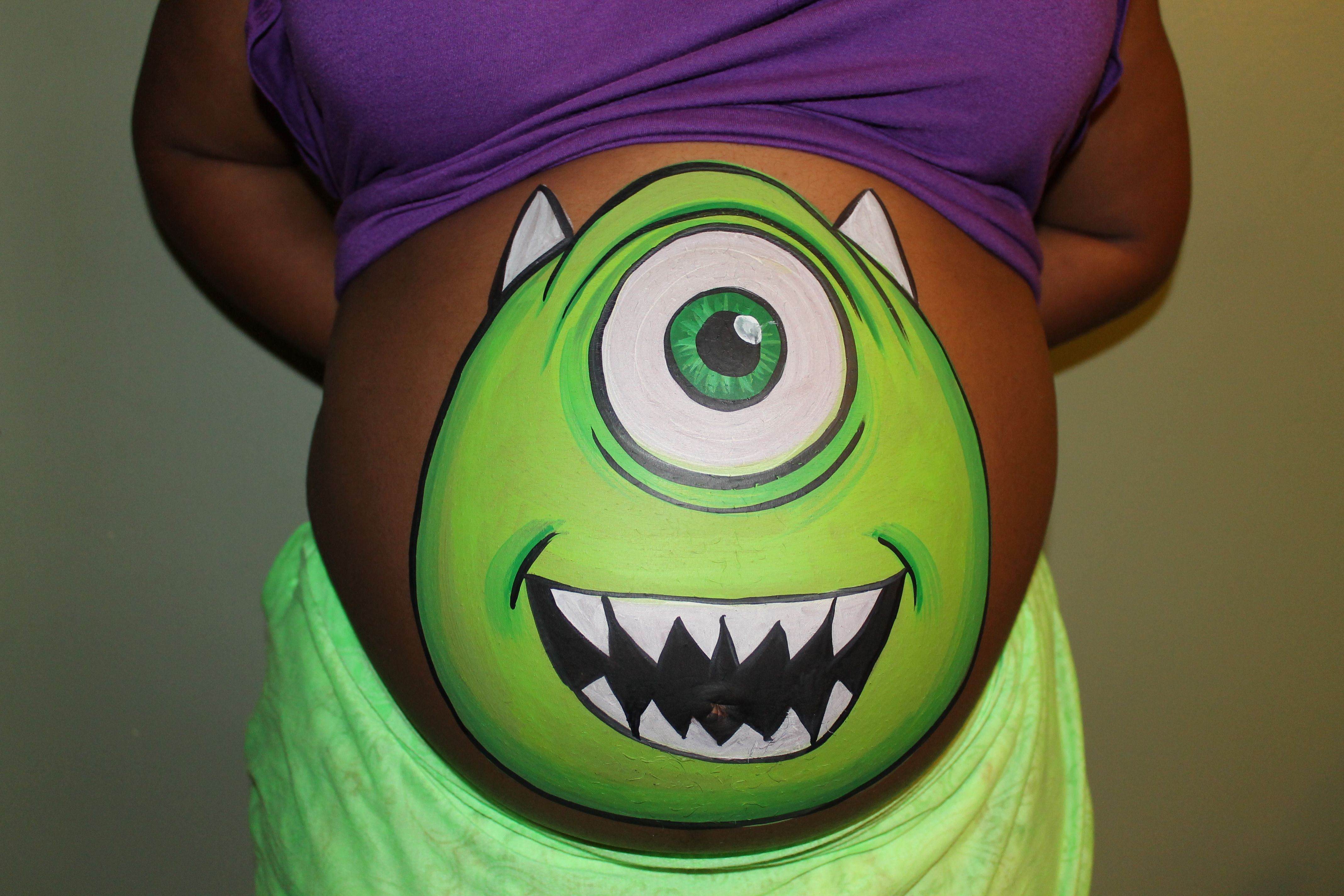 mike wazowski from monsters inc belly painting. Black Bedroom Furniture Sets. Home Design Ideas