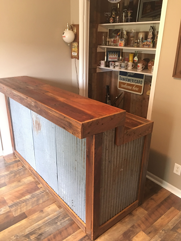 Large Rustic Barnwood Bar Etsy Diy Home Bar