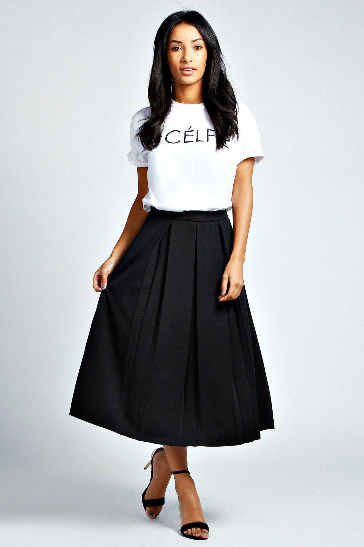 Bea Box Pleat Midi Length Scuba Skater Skirt | fashion ...