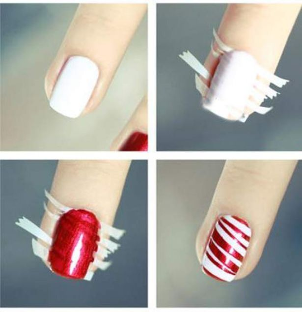 Braided nails i love the colors the website is in some crazy red stripe or candy cane nail art using small stripes of tape i think i might do this on my toes for my christmas vacation prinsesfo Images