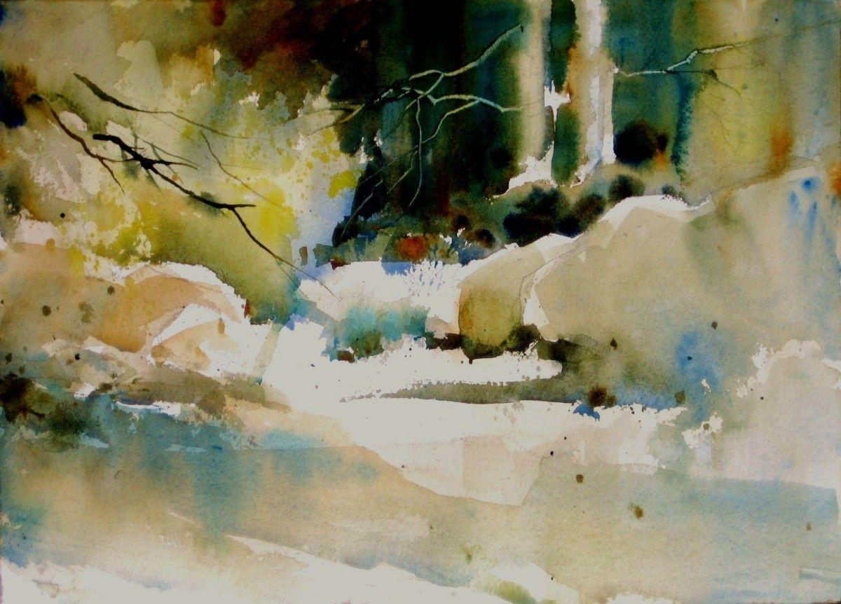 "Contemporary Painting - ""Yosemite in Fall"" (Original Art from Fealing Lin Watercolors)"