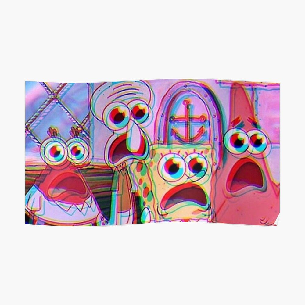 Trippy Spongebob Poster By Sswain Aff Spongebob Trippy Sswain Poster Ad In 2020 Edgy Wallpaper Trippy Painting Computer Wallpaper