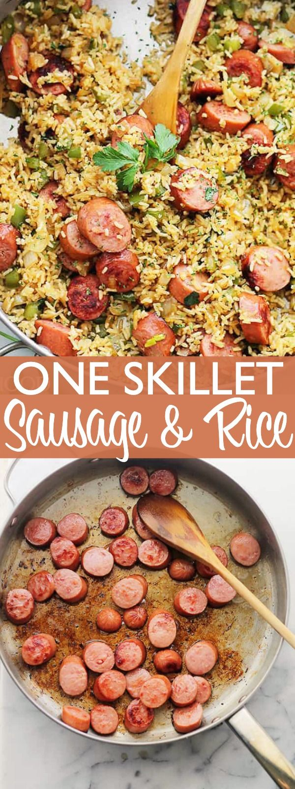 One Skillet Sausage and Rice - Sausage with Rice is an easy weeknight dinner recipe that you'll come back to again and again! It's an easy, 30-minute, meal with smoked turkey sausage, fluffy rice and flavorful veggies. #easysausagerecipes