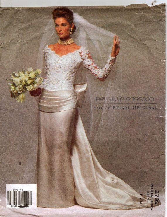 40fc5ca719f 90s Vogue Bridal Original Pattern 2799 Bellville Sassoon Womens Wedding or Bridesmaid  Dress Size 8 10 12 Bust 31 1 2 to 34.  25.00