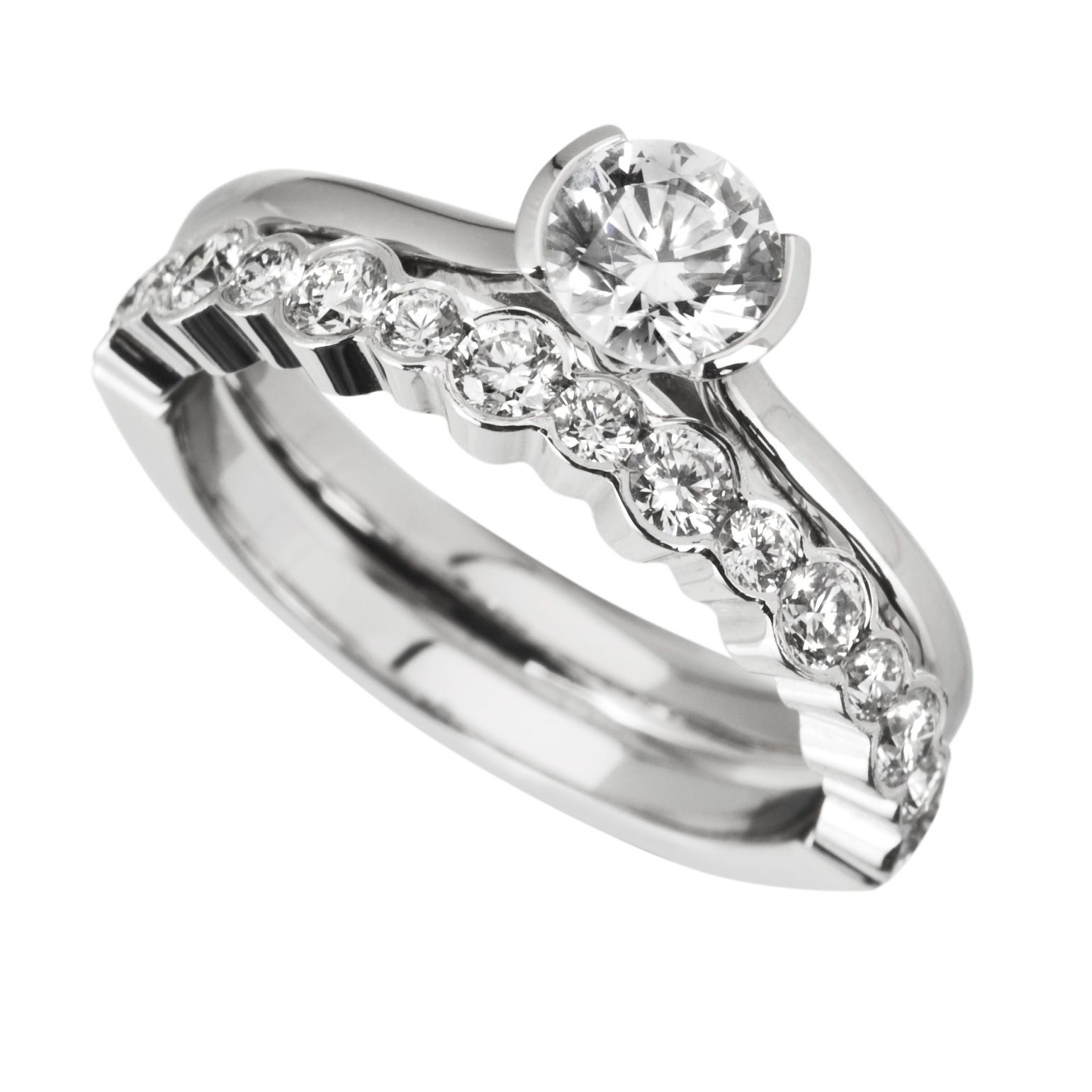 images of wedding rings sets Rub Over Engagement Ring with